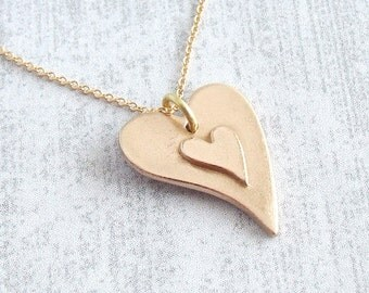 Double Heart Pendant Necklace, Handmade Gold Bronze Metal Two Hearts, Romantic Gift, Girlfriend/Wedding/8th Bronze Anniversary Gift for her
