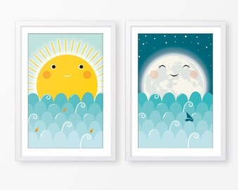 sun and moon wall art etsy. Black Bedroom Furniture Sets. Home Design Ideas