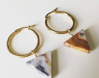 Triangles on gold hoops