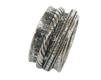 Silver spinner ring, rotating ring, israel ring, double rotate ring, worry ring, silver ring, meditation ring, spinning ring, anxiety ring