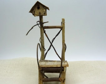 Birdhouse Twig Chair // Rustic Woodland Cottage Country Home Decor // Handcrafted Doll Size Chair // Vintage Home Decor