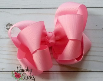 light pink 6 inch double stacked boutique bow. baby girl bow.