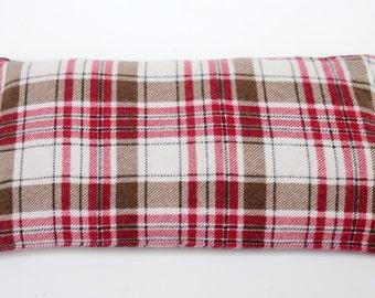 Corn bag - corn heating bag - medium size - red brown plaid flannel - Corn filled heating pad - corn warmer - hot cold pack