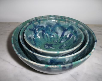 Colorful Green, Blue and White Ceramic Set of 3 Nesting Bowls Handmade with Stoneware Clay.