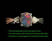 Black Opal & Diamond Ring Bridal Set. Natural Australian Solid Black Opal or 4 other opal types to choose from! Design A 67, A 69