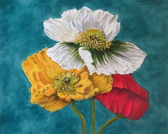Original Acrylic Painting Flowers, Flower painting on canvas,Wall Art,Teal, White, Gold, Yellow, Red, Made in America