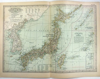 Original 1897 Map of Japan and Korea by The Century Company