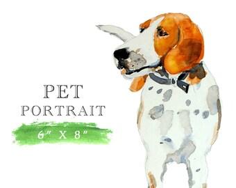 Painted pet portrait, watercolor sketch, custom pet portrait, custom dog portrait, pet painting, dog painting, gift for dog owner, keepsake
