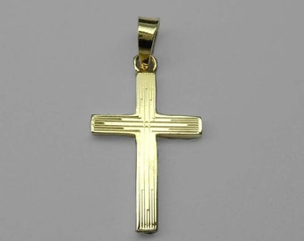 14Kt Yellow Gold Crucifix Charm Pendant Christ Cross