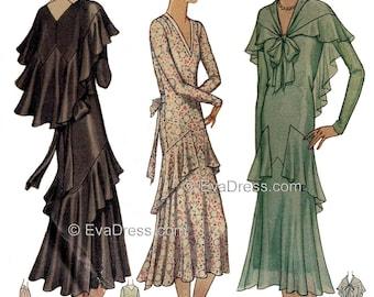 1930 Flounced Dress & Cape Pattern by EvaDress