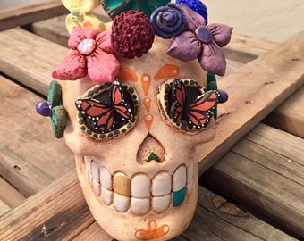 Dia de los Muertos Large Sugarskull Faux Aged Skull with individual Flowers Monarch Butterfly Eyes Day of the Dead Mexican Folk Art Handmade