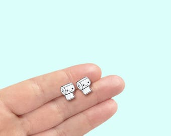Kawaii Toilet Paper Earrings, Cute Kawaii Design Earrings, Kawaii Style Earrings, Cute Earrings, Toilet Paper