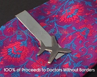 Airplane Tie Clip - 100% of Net Proceeds Go to Doctors Without Borders