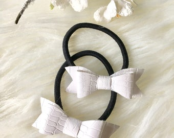 Set of 2 Piggy Tail/ Hair Bow Elastics/ Baby Pigtail/ Baby Ponytail/ Toddler Hair Bow / Hair Elastics/ Toddler Ponytail / Baby girl Gift