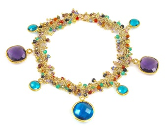Multi-color Semi-precious Stone Beaded Charm Bracelet