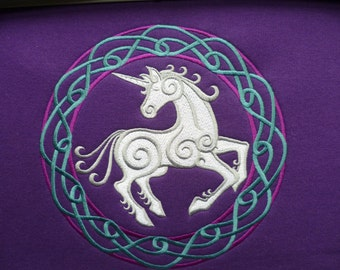 Hoodie Unicorn Knotwork Celtic Circle. Embroidered design. Unisex Hoody Sweater