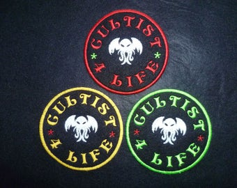 Cthulhu Patch 'Cultist 4 Life' slogan Patches statement embroidered sew on Patch Fabric Badge Cotton Drill Fabric. Glow in the dark.