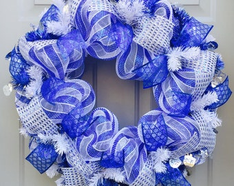 Hanukkah Deco Mesh Wreath, Star of David Wreath, Chanukah Wreath, Blue Silver Wreath