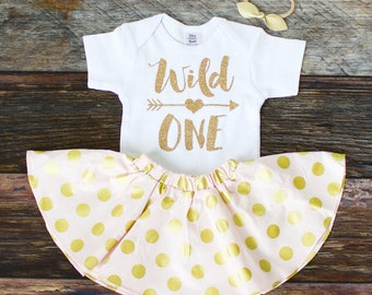 Wild One 1st Birthday Skirt Outfit | Glitter Gold 'Wild One' Top with Pink and Gold Polka Dot Twirl Skirt | Complete Girl's 1st Birthday Set