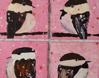 Whimsical Baby Chickadee Acrylic Tetraptych Paintings. Pink Bird Paintings. Bundle of Four Mini Group Gifts for Her. 157 - 160