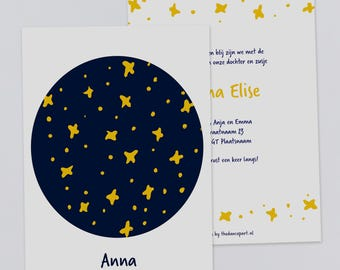 "Birth Announcement Card ""Stars"" // Digital Download // Print ready // Stars // Simple"