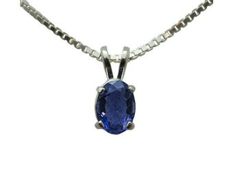 Sterling Silver Iolite Pendant with Chain