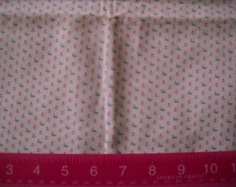 Deatash- 2 Full Yards Of  Vintage Swan And Flower Micro Print Quilter's Cotton Fabric