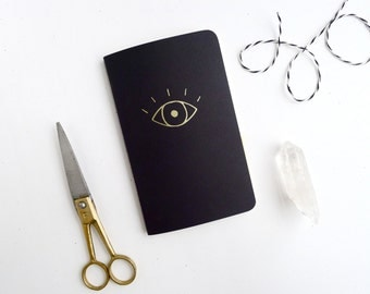 Eye Jotter Notebook / Witchy Pocket Journal / Gold Evil Eye Book / Plain or Graph Paper