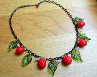 Sale: raspberry necklace, 40's 50's inspired fruit necklace, berry necklace.