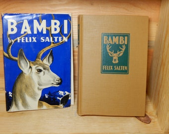 1929 Bambi by Felix Salten with Dust Jacket / Vintage Childrens Book / 1st Edition Bambi ? / Vintage Collectible Book 1920s