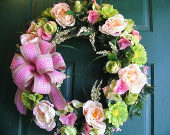 Rose Wreath, Summer Wreath, Cottage Wreath, Gerber Daisy Wreath