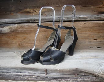 Vintage 1940's Black Satin High Heel Platform Peep Toe Shoes with Ankle Straps * Gilda! * Pin Up