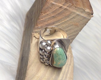 Statement Ring //  Royston Turquoise //  chunky turquoise ring // Sterling Silver ring, Turquoise Ring // christian jewelry // adorned //