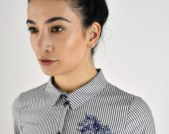 Chic shirt dress - classic gestreiftes shirt dress in preppy look