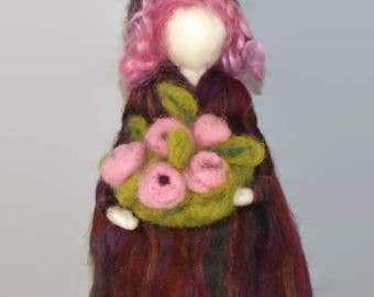 Needle felted pixie, woodland pixie, woodland woman, nature decor, wool pixie, soft sculpture, Waldorf pixie, felted doll, home decor.
