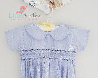 Beautiful Baby boys hand smocked romper in blue - size 6-9 months
