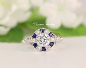 Art Deco Engagement Ring, Blue Sapphire Halo Engagement Ring, Vintage Filigree Round Cut Diamond Simulant, Bridal Ring, Best Promise Ring