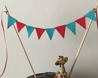 Birthday Cake Topper / Bunting / Fabric Pennant Flags / Red and Aqua Blue with Blue Polka Dots / Party / Double sided