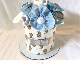 Monkey Baby Shower Centerpiece Mini Diaper Cake for Boy  - Baby Gift  for Boy - Baby Boy Flower Arrangement - Baby Boy Monkey Diaper Cake