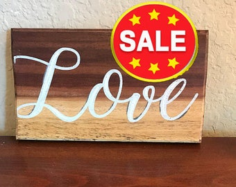 """SALE! Exotic Wood LOVE Sign, Love Home Decor Sign - Mora Wood, 4""""x7"""""""