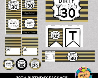 30th Birthday Party Decor Package. 30th Birthday Printables - Dirty or Flirty 30th Birthday Party Decor. *INSTANT DOWNLOAD*