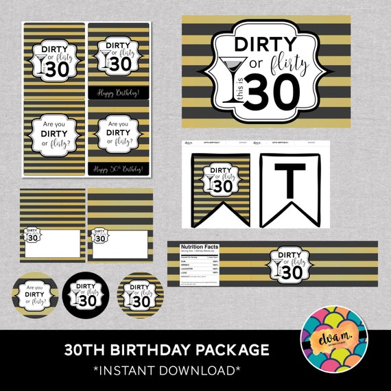 30th birthday party decor package 30th birthday printables