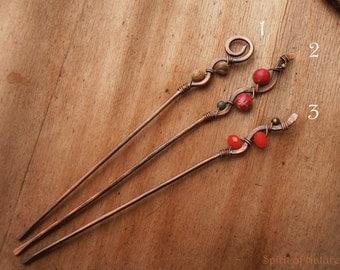 Rustic copper hair stick Simple wire hair sticks Hammered copper hairstick Copper wire hairpin Wire wrapped hair pins Ocean jasper hair pin