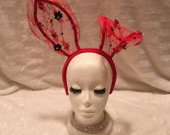 Red Lace Bunny Ears with Crystals and Red And Black Flowers. Burlesque Cabaret Vintage Costume Accessory