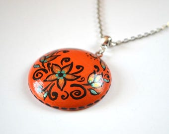 orange pendant sister gift womens jewelry gift boho style flower necklace ethnic necklace dainty necklace original painting orange jewelry