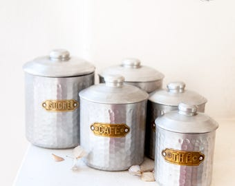 5 French Vintage Nesting Tin Canisters - Hammered Aluminum & Brass - Free Shipping within the USA