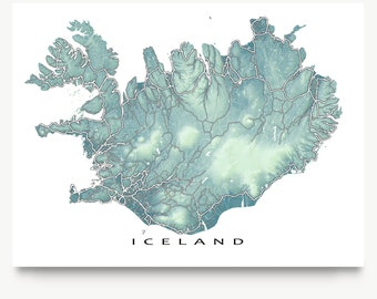 Iceland Map, Iceland Art, Reykjavik, Travel Map Print