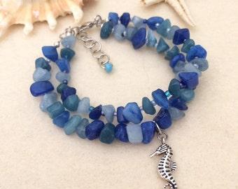 Ocean Blue Bracelet Beaded Stone Summer Bracelet Seahorse Charm Bracelet Sea Bracelet Beach Beaded Boho Bracelet Gift For Her Girlfriend
