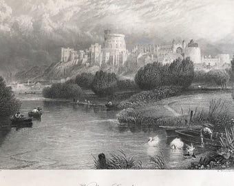 Wonderful Original Antique Engraving Of Windsor Castle   by Birket Foster / A Willmore c1876