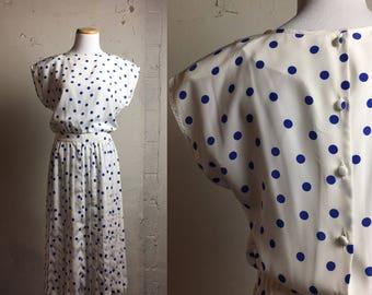 Vintage Blue & White Polka Dot Dress   small medium   S M   Retro   Vintage Dress   Button Back Dress